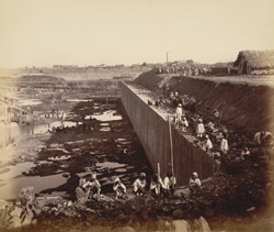 View of north wall, middle jetty [Victoria Dock construction, Bombay].